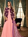 image of Fancy Fabric Party Style Pink Designer Readymade Gown With Digital Printed Dupatta