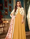 image of Function Wear Fancy Fabric Designer Readymade Gown In Mustard With Digitally Printed Dupatta
