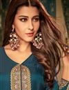 photo of Sky Blue Designer Georgette Function Wear Readymade Gown With Digitally Printed Dupatta