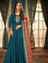 image of Party Style Embroidered Readymade Gown In Georgette Sky Blue With Digital Printed Dupatta