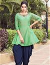 image of Chic Readymade Party Wear Fancy Fabric Sea Green Indowestern Suit
