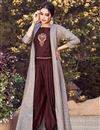 image of Sassy Party Style Wine Color Readymade Fancy Fabric Indowestern Suit
