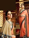 photo of Orange Georgette-Jacquard Saree with Brocade Blouse