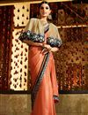 image of Orange Georgette-Jacquard Saree with Brocade Blouse