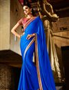 image of Blue Satin Saree with Raw Silk Blouse