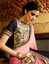 photo of Pink-Purple Georgette-Jacquard Saree with Border