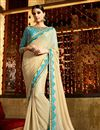 image of Beige Designer Georgette Saree with Raw Silk Blouse