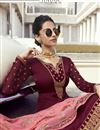 photo of Maroon Classic Function Wear Embroidered Georgette Palazzo Suit