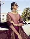 photo of Burgundy Classic Function Wear Georgette Embroidered Palazzo Suit