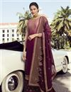 image of Burgundy Classic Function Wear Georgette Embroidered Palazzo Suit