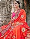 photo of Fancy Fabric Wedding Wear Embroidered Saree In Red