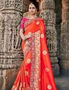 image of Fancy Fabric Wedding Wear Embroidered Saree In Red