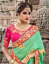 photo of Eid Special Embellished Fancy Sea Green Designer Function Wear Saree