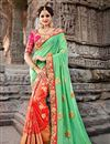 image of Sea Green Embroidered Function Wear Fancy Saree
