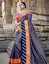 image of Eid Special Fancy Function Wear Navy Blue Fancy Embroidered Saree