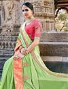 photo of Fancy Fabric Function Wear Saree In Pastel Green
