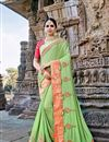 image of Fancy Fabric Function Wear Saree In Pastel Green