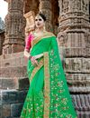 image of Fancy Green Party Wear Designer Saree