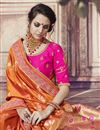 photo of Wedding Wear Banarasi Silk Rust Color Traditional Saree With Work