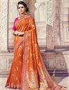 image of Wedding Wear Banarasi Silk Rust Color Traditional Saree With Work