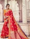 image of Traditional Function Wear Banarasi Silk Red Embroidered Saree