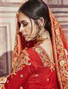 photo of Wedding Function Wear Orange Banarasi Silk Saree With Fancy Work