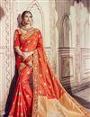 image of Wedding Function Wear Orange Banarasi Silk Saree With Fancy Work