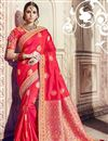 image of Red Designer Festive Wear Saree With Embroidery Work In Banarasi Silk