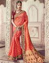 image of Traditional Wedding Wear Banarasi Silk Salmon Color Saree With Heavy Work