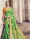 image of Function Wear Banarasi Silk Traditional Sea Green Saree With Work