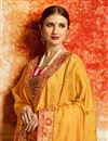 photo of Designer Saree In Mustard Jacquard With Embroidery Work And Party Wear Blouse