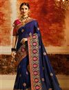 image of Embroidered Navy Blue Occasion Wear Art Silk Saree With Designer Blouse