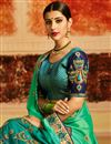 photo of Designer Saree In Sea Green Art Silk With Embroidery Work And Party Wear Blouse