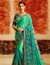 image of Designer Saree In Sea Green Art Silk With Embroidery Work And Party Wear Blouse