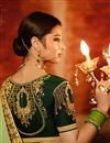 photo of Georgette Green Sangeet Wear Saree With Embroidery Work And Blouse