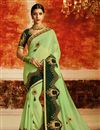 image of Green Embroidered Sangeet Wear Georgette Saree With Designer Blouse