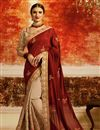 image of Festive Wear Saree With Embroidery Work In Maroon Art Silk Fabric
