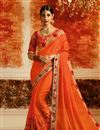 image of Art silk Orange Sangeet Wear Saree With Embroidery Work And Blouse