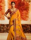 image of Yellow Designer Saree With Embroidery Work On Art Silk Fabric