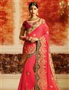 image of Pink Georgette Festive Wear Saree With Embroidery Work And Designer Blouse