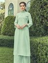 image of Sea Green Party Wear Cotton Embroidered Kurti With Bottom