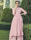 image of Party Wear Pink Embroidered Cotton Kurti With Palazzo