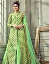 image of Designer Art Silk Sea Green Gown Style Readymade Anarkali Salwar Kameez