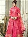 image of Function Wear Art Silk Gown Style Readymade Anarkali Dress In Rani Color