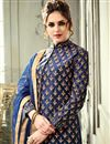 photo of Navy Blue Wedding Function Wear Art Silk Gown Style Readymade Anarkali Suit