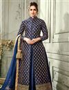 image of Navy Blue Wedding Function Wear Art Silk Gown Style Readymade Anarkali Suit