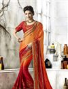 image of Maroon And Orange Embroidered Sangeet Function Wear Saree In Chiffon