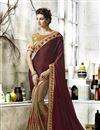 image of Embellished Dark Beige And Wine Wedding Function Wear Saree In Art Silk And Georgette