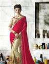 image of Art Silk Embellished Fancy Designer Saree In Cream And Rani