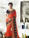 image of Embroidered Wedding Wear Orange Fancy Saree In Georgette